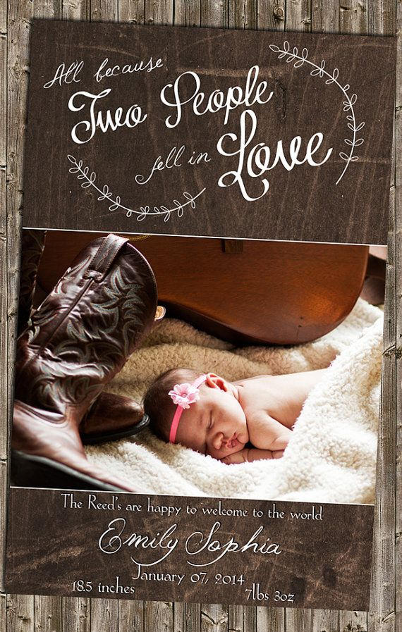 Baby Announcement- Rustic Country Love country lyrics now a christmas card! https://www.etsy.com/listing/206234691/
