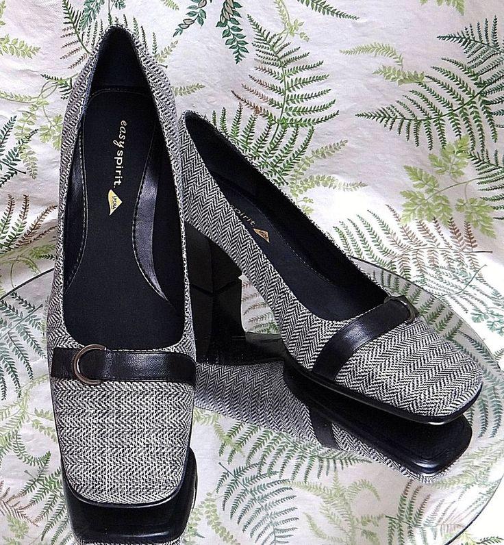 EASY SPIRIT WHITE BLACK LEATHER SLIP ONS LOAFERS DRESS SHOES HEELS WOMENS SZ 9 M #EasySpirit #Heels #WeartoWork