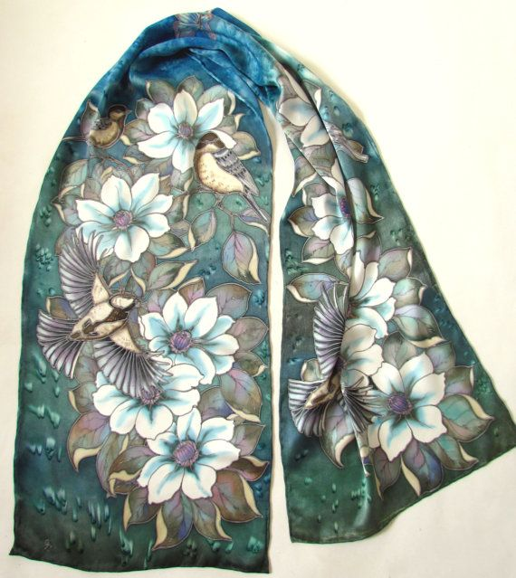 Hand Painted Scarf.Silk Scarf.Silk Scarves.Hand painted Silk scarf 'White Clematis'Made to order Size 16/68 inch. Luxury gift for her.