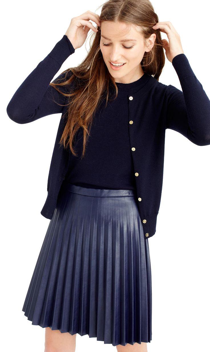 leather skirt + cardigan!