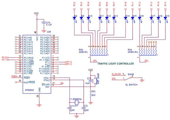 Circuitdiagram U202c To Interface Traffic Light With 8051