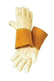 "Radnor® Medium Standard Grain Cowhide MIG/TIG Welders Glove With 4"" Split Leather Cuff, Kevlar® Sewn Reinforced Thumb Strap And Pull"