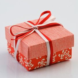 Coral Vintage Square Wedding Favour Box