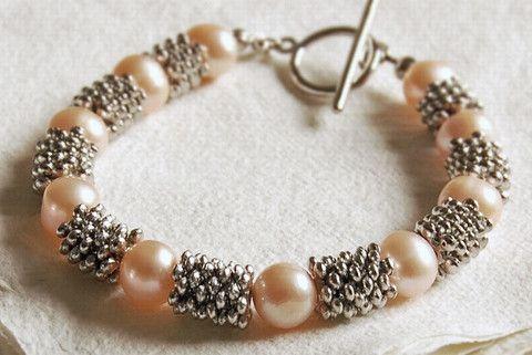 Pink pearl cluster bracelet