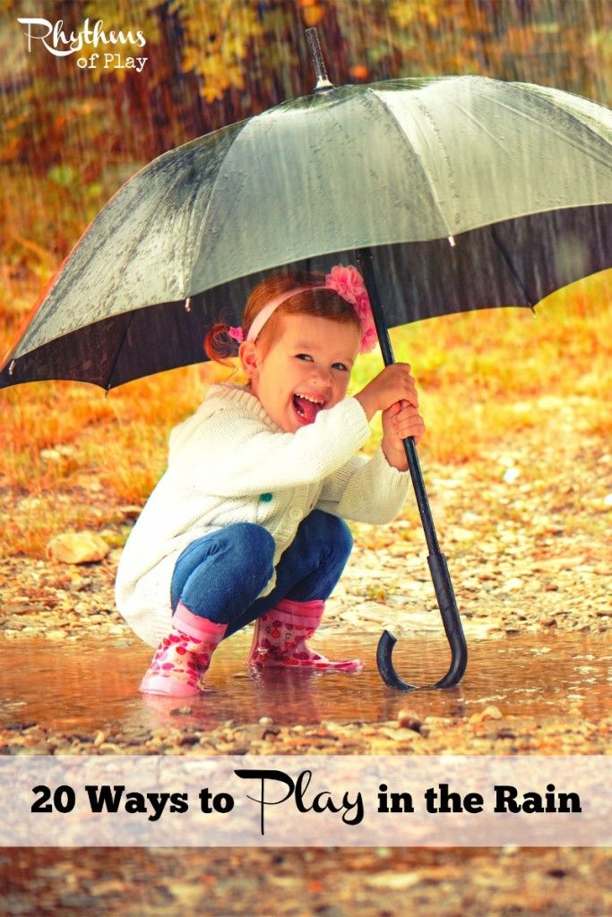 20 Ways to Play in the Rain. Rainy day activities don't have to be inside! There are many wonderful ways to play in the rain, and lots of learning opportunities available on rainy days. Get outside in nature and play the next time it rains.