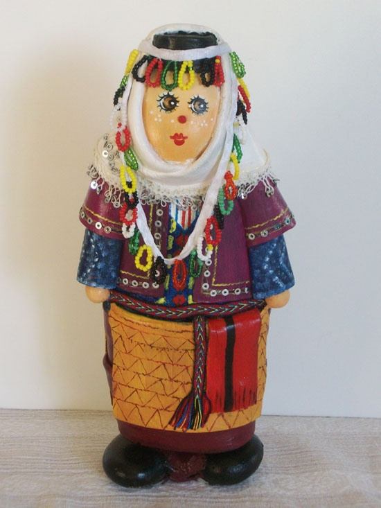 Hand-Made Stone Doll Dressed in Turkish Folk