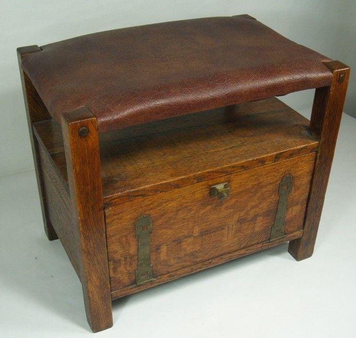 Rare Lakeside Craft Shop Strap Hinge Stool W/Door Arts U0026 Crafts Mission Oak  NR