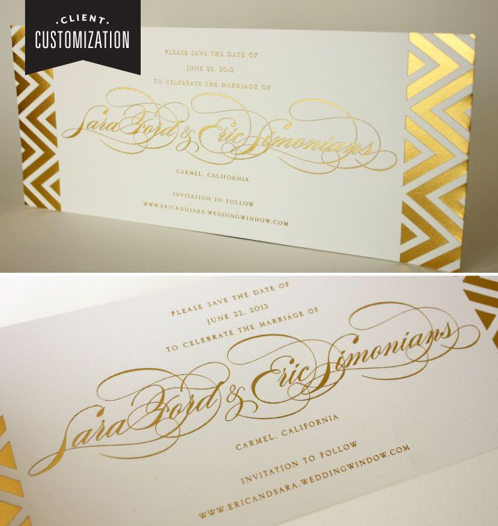 avery address labels wedding invitations%0A Client Customization  Gold Foil Chevron Pattern Save the Date   inkbykymberliparker  foilprinting Custom Letterpress