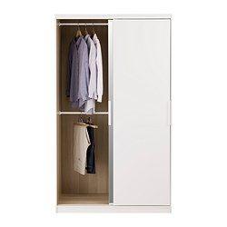IKEA - MORVIK, Kleiderschrank, weiß/Spiegelglas, , Schiebetüren sorgen für mehr Bewegungsfreiheit im Raum, da sie beim Öffnen weniger Platz erfordern.Eine Spiegeltür spart Platz, da nicht unbedingt ein zusätzlicher Wandspiegel benötigt wird.Versetzbare Böden für bedarfsangepasste Aufbewahrung.Für optimale Nutzung mit SKUBB Behältern ergänzen – für Ordnung in Schränken und Schubladen.