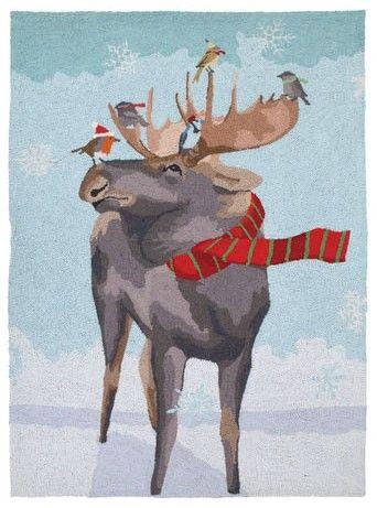 Christmas Moose Rug by Scott Church