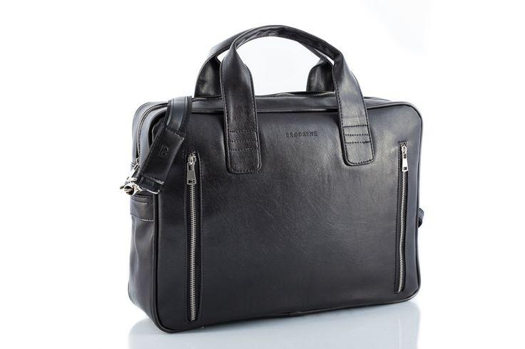 Męska stylowa torba na ramię Brødrene B02 czarna z czarnym wnętrzem | ON \ Torby męskie | mironti.pl