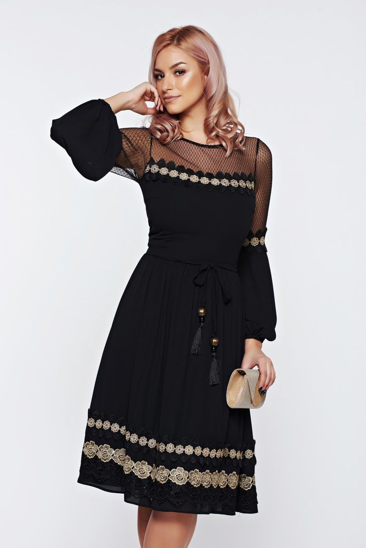 LaDonna black dress occasional embroidered accessorized with tied waistband, accessorized with tied waistband, embroidery details, back zipper fastening, transparent fabric, voile fabric