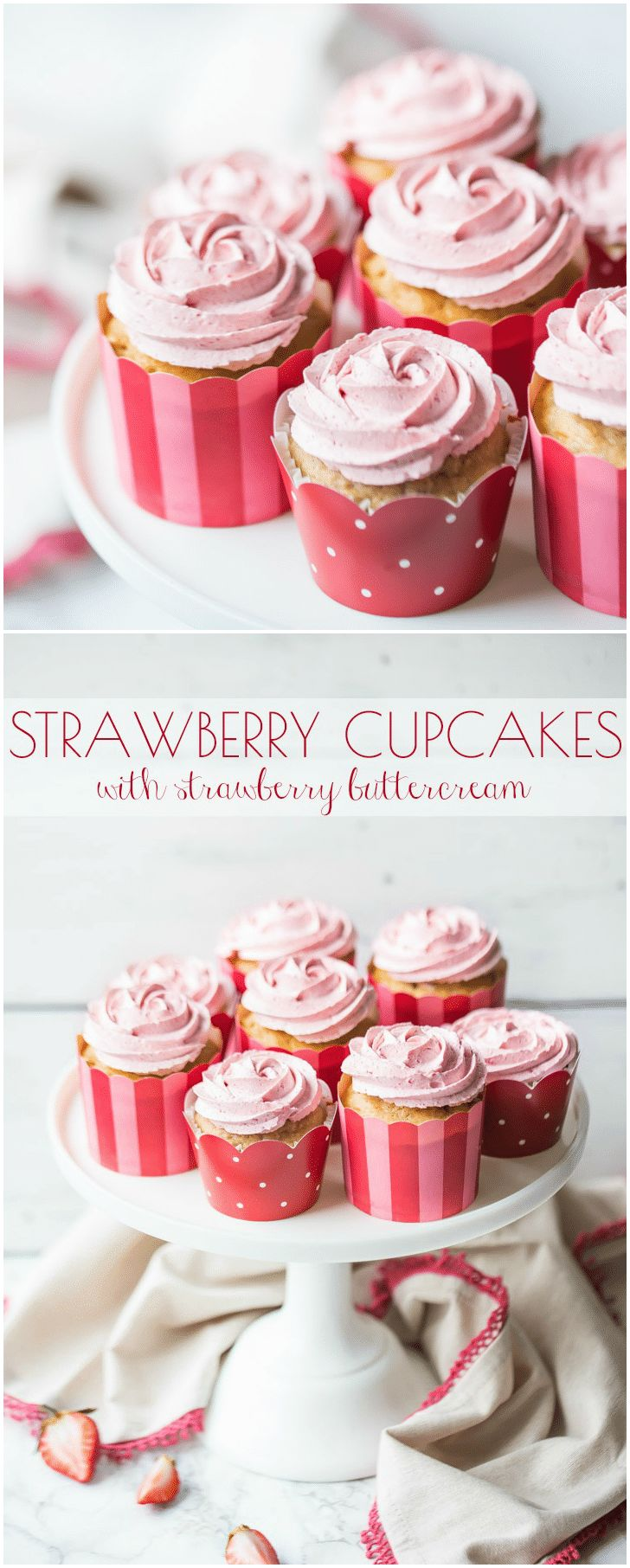 Strawberry Cupcakes with Strawberry Buttercream: these had SO MUCH incredible strawberry flavor, and they're all natural, nothing artificial, no jell-o required! #strawberry #cupcakes #buttercream #frosting #desserts #mothersday #valentinesday #birthday via @bakingamoment
