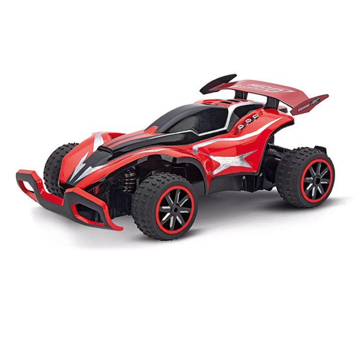 Le buggy RC Carrera Red Jumper est une voiture télécommandée à l'échelle 1:20. Il est équipé de pneumatiques volumineux pour une adhérence parfaite. Son design dynamique et sa technologie innovante lui permettent de réaliser de grandes performances : sa vitesse de pointe est de 20 km/heure. Et son temps de jeu de plus de 40 minutes pour un temps de charge réduit. L'enfant pilote ce buggy avec facilité et plaisir.