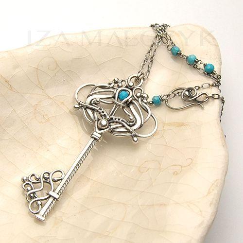 the Lysandra Coridon necklace by Iza Malczyk - key pendant, silver, turquoise