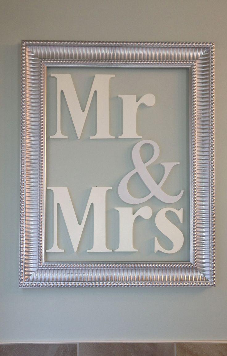 Mr & Mrs - 11x18 decorative frame with Homeworks Etc wood letters hung inside. #decorating #woodletters