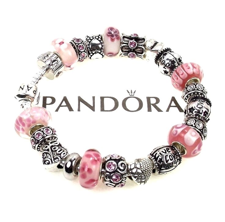 authentic pandora bracelet pink live love laugh joy words. Black Bedroom Furniture Sets. Home Design Ideas