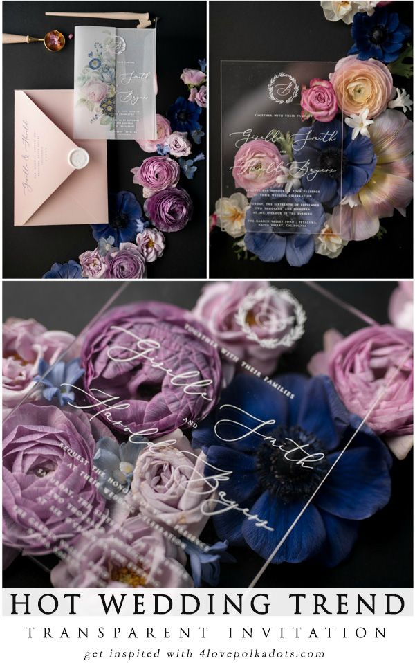Hot wedding trend Transparent acrylic wedding invitations