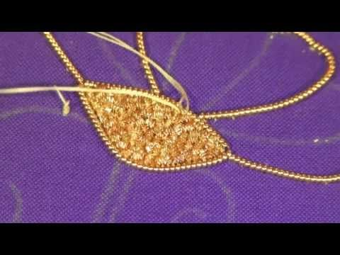 Goldwork embroidery tutorial. Part 3 - Applying Bright Check Purl chips