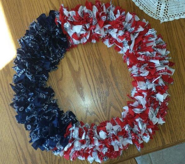 17 Best images about Bandana wreaths on Pinterest   Fabric ...  Bandana Wreath Directions