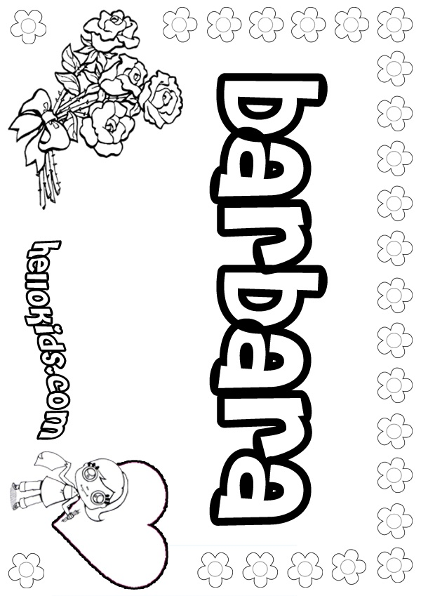 Letter B for barbara Google Search B Name coloring pages Girl names Color