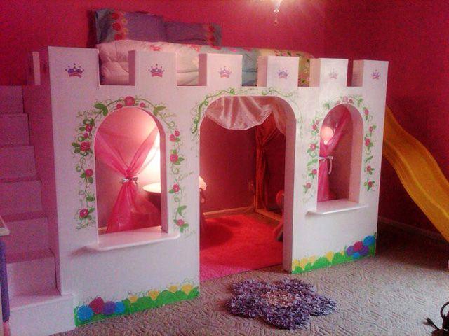 princess castle bed with decorative flower pattern decorative bedroom. beautiful ideas. Home Design Ideas
