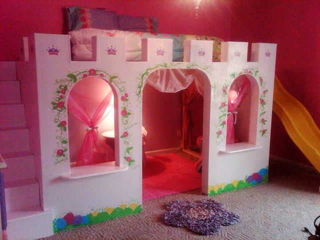 7 Inspiring Kid Room Color Options For Your Little Ones: Princess Castle Bed With Decorative Flower Pattern