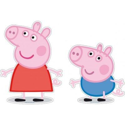 2 mini figuras 30 cms Peppa Pig, son ideales para decorar tu cumpleaños de Peppa Pig. Puedes colgarlas, pegarlas en las ventanas o en las paredes, o ponerlas en una candy table para decorar. Luego seguro que las podrás usar para decorar la habitación del peque.