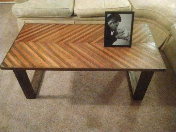 Chevron coffee table reclaimed oak chevron by VilesWoodworking