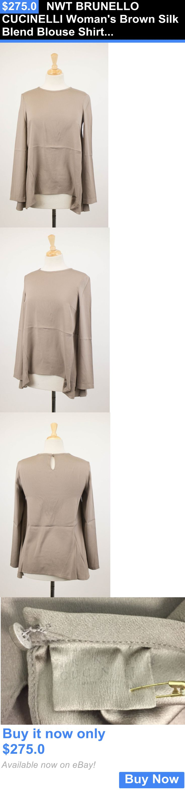 Women Tops And Blouses: Nwt Brunello Cucinelli Womans Brown Silk Blend Blouse Shirt Top Size M $895 BUY IT NOW ONLY: $275.0