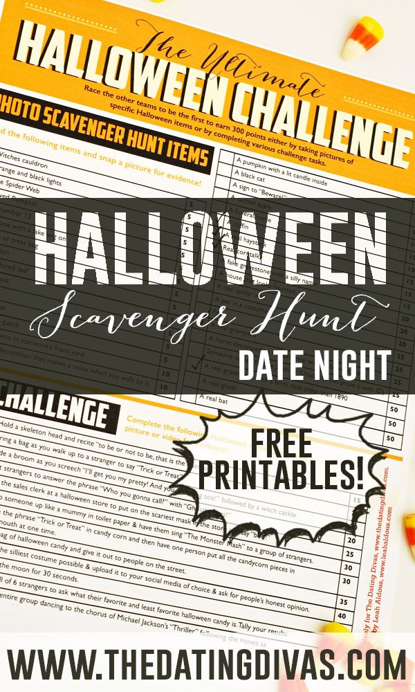 Everything you need for a Halloween Scavenger Hunt Date Night. I think this would be such a fun tradition! www.TheDatingDivas.com