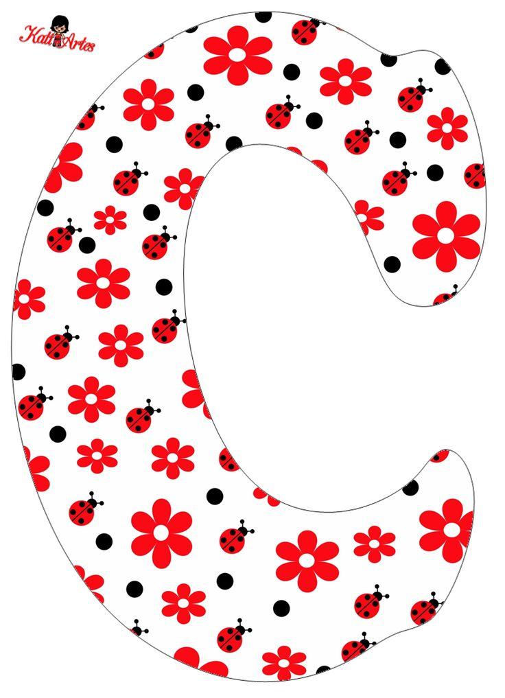 Flowers and Ladybugs Free Alphabet. Alfabeto de Flores y Mariquitas.