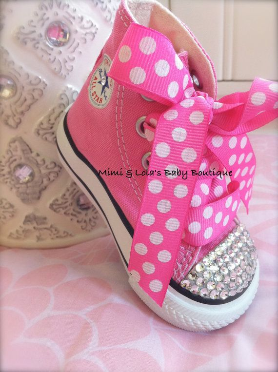 PINK BLING CONVERSE High tops with Swarovski by MimiandLolas I would die
