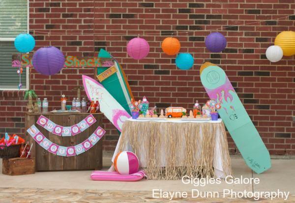 Hang 10 Retro Surf Girl Boy Beach Birthday Party Planning Ideas