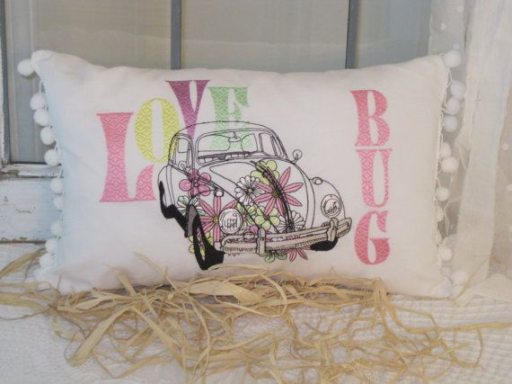Fun & Funky 'Love Bug' embroidered pillow in by BrambleWoodANDivy