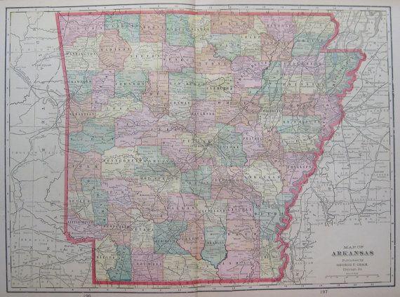Antique ARKANSAS Map of Arkansas State Map 1908 by plaindealing