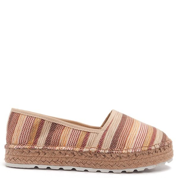 Textile multi striped espardilles with beige piping and double rope sole.