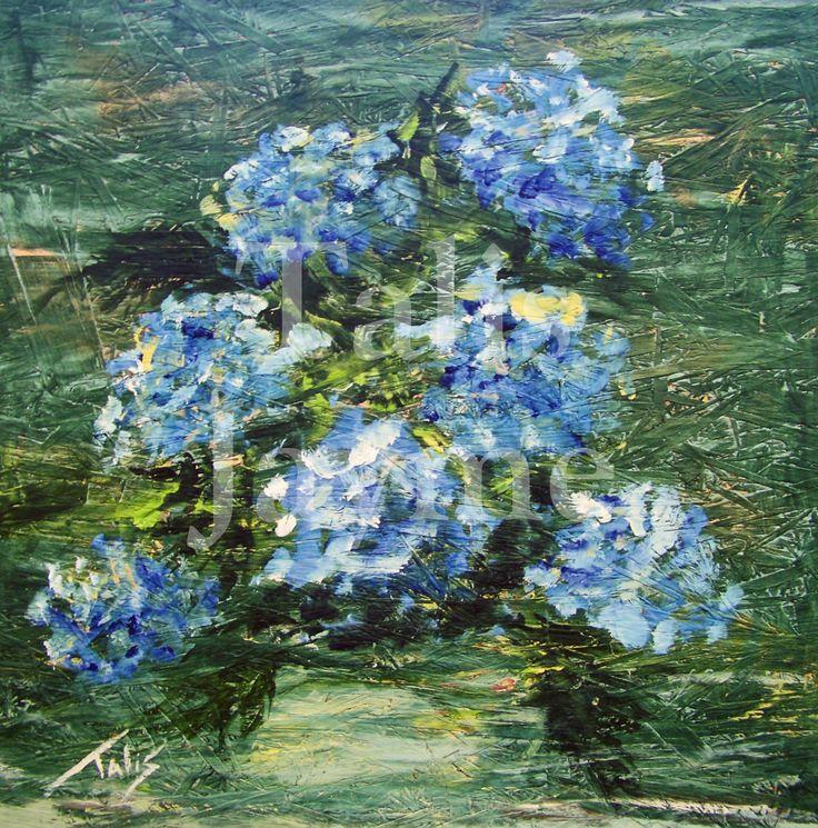 """Hydrangea Blues Night"" Giclee by Talis Jayme, $125, #Talis"