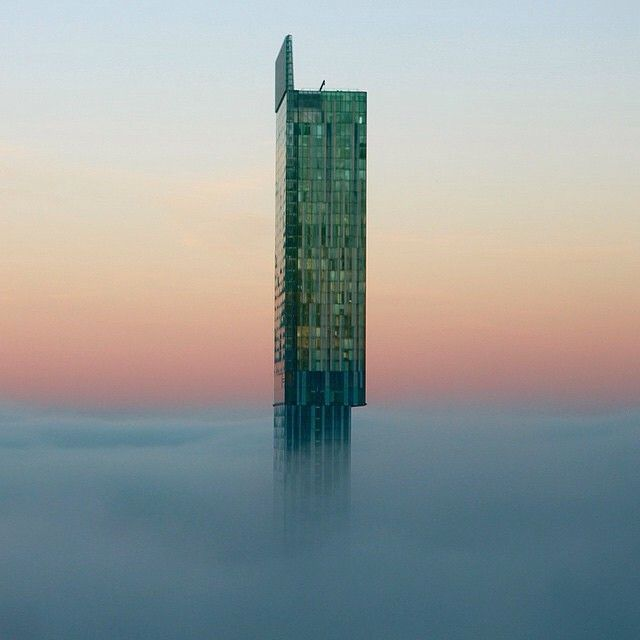 This picture is of Beetham Tower, which was completed in 2006, on a foggy morning in Manchester. The building is the city's tallest building and widely regarded as the UK's only skyscraper outside of London. This photo originally appeared on the @WeAreMCR Instagram account and was taken by @thamer_omer.