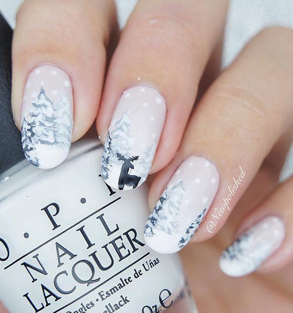 A little piece of art on your nails. Seamless french manicure. Soft hues and bright tones Update occasional black detail like reindeer are a wonderful choice.