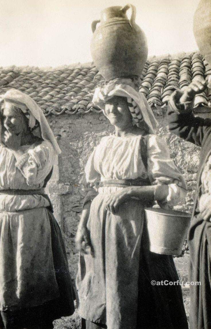 Corfu old photos-women carrying water pots