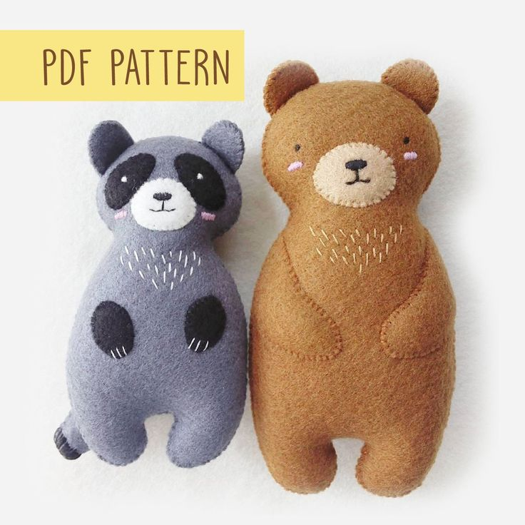 Woodland Animals Felt Softie Baby Toys Sewing Patterns PDF, Bear and Raccoon Ornaments Woodland Friends Soft Toys for Nursery Decor