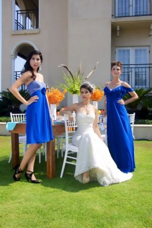 Premier Bride Magazine of Jacksonville   Photo by Elegant Imagery  Location Ponte Vedra Resorts, Blue Bridesmaid Dresses, Different Bridesmaid Dresses