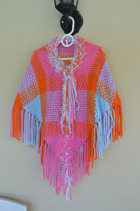 Hand Woven Poncho / kids/ girls / hand knit /hand knit by Cozyyarn