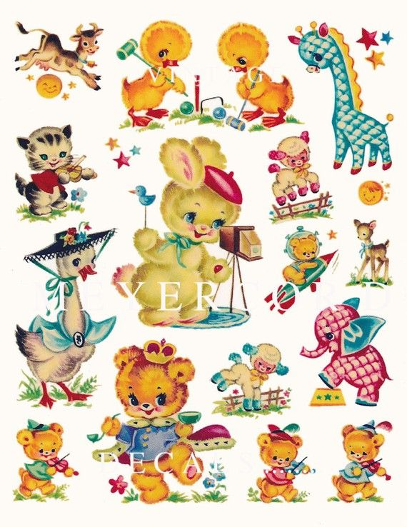 Reproduction Vintage Meyercord Decals Little Artist And Friends 1940scute Animals