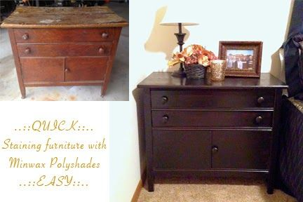 Minwax Polyshades in Espresso makes staining furniture a snap! Look at what it did for this dresser that was found on the curb!