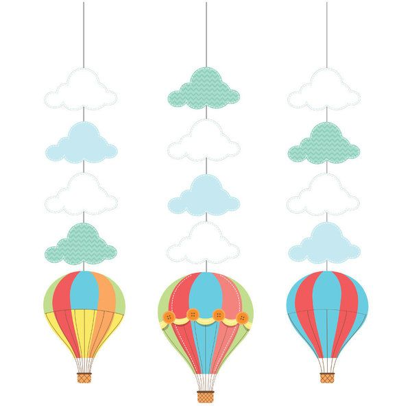 Check out Up, Up, & Away Hanging Decorations (3 Count) - Wholesale Party Supplies from Wholesale Party Supplies