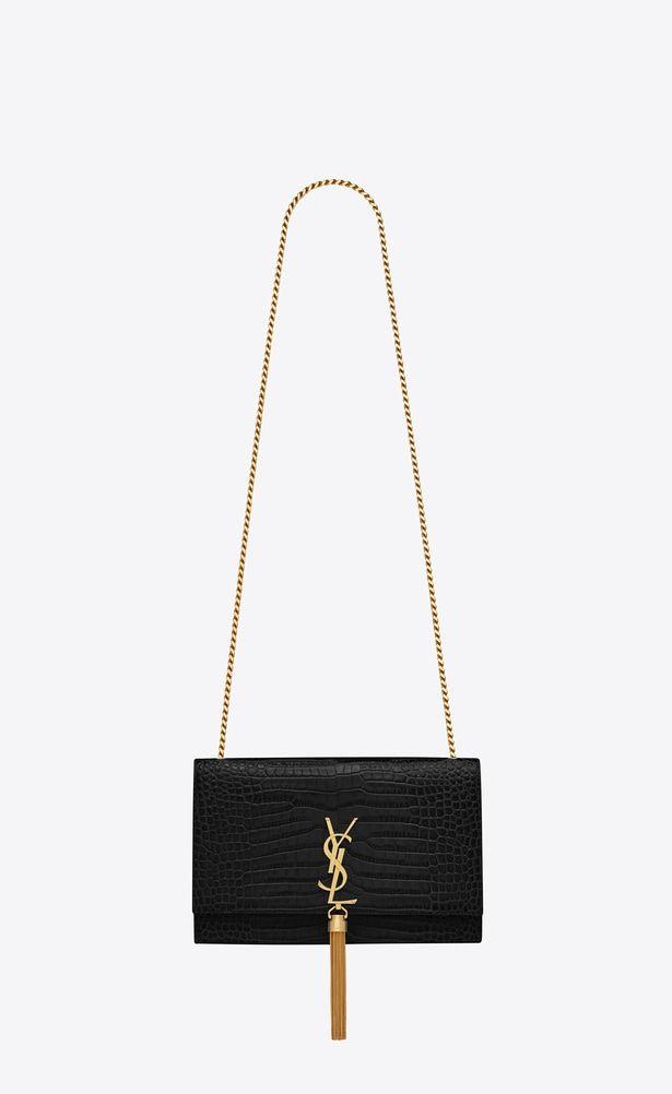 ccb94f6bfe9d SAINT LAURENT MONOGRAM KATE WITH TASSEL Woman medium kate tassel chain bag  in black crocodile embossed leather a V4