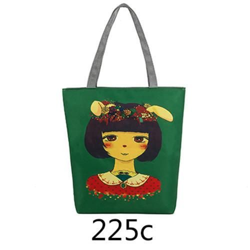 Casual Tote Handbags Women Canvas Bags Single Shoulder Bags Cute Characters Print Beach Bag Female Canvas Shopping Bag H33