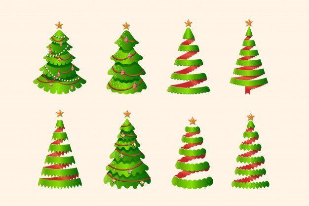Christmas Tree Set In Three Dimensional Ribbon Stylized Christmas Tree Set Christmas Christmas Tree
